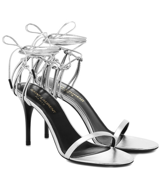 Saint Laurent Lexi 90 metallic leather sandals in silver