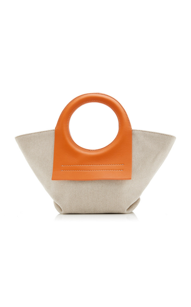 Hereu Cala Small Leather-Trimmed Canvas Tote in orange