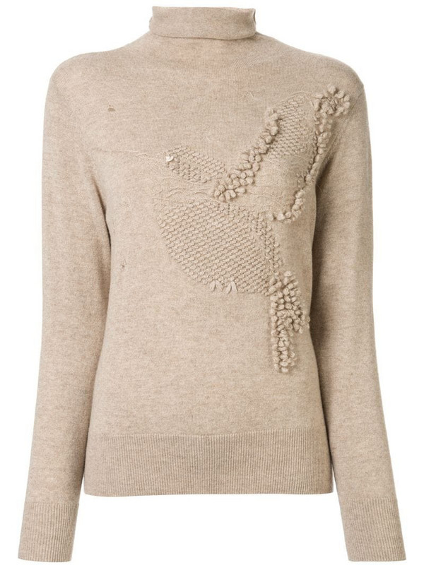 Onefifteen textured knit roll neck jumper in brown