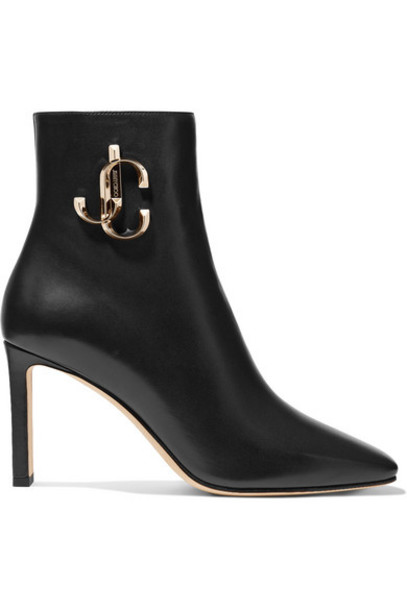 Jimmy Choo - Minori 85 Embellished Leather Ankle Boots - Black