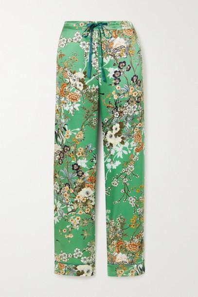 MENG - Floral-print Silk-satin Pajama Pants - Green