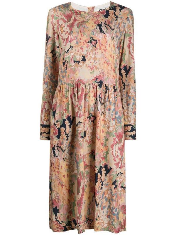 YMC floral-print drop-waist midi dress in neutrals