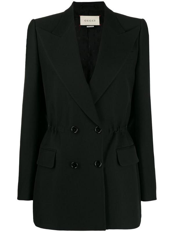 Gucci elasticated waist detail blazer in black