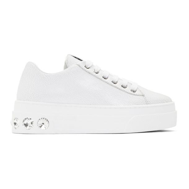 Miu Miu White Crystal Crackle Platform Sneakers