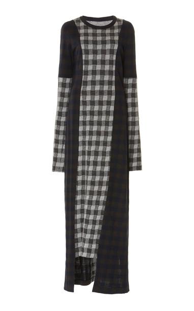 Maison Margiela Grid-Paneled Jersey Maxi Dress in black