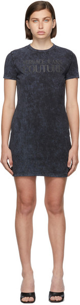 Versace Jeans Couture Grey Jersey Logo Crinkle Dress in petrol