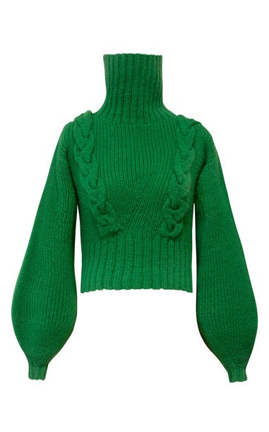 Alejandra Alonso Rojas Hand Cable Knit Cropped Turtleneck Sweater Size in green