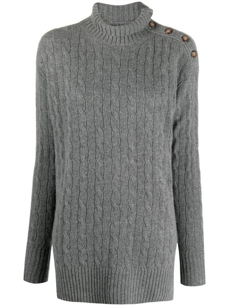 Polo Ralph Lauren cable knit high-neck jumper in grey