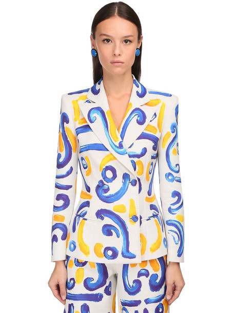 MOSCHINO Double Breasted Printed Duchesse Jacket in white / multi