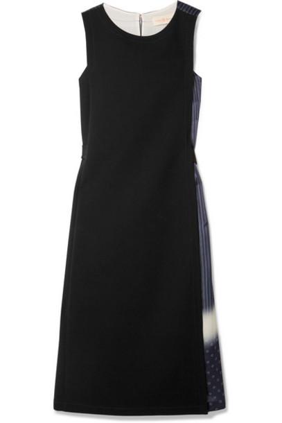 Tory Burch - Paneled Crepe And Printed Silk-satin Midi Dress - Black