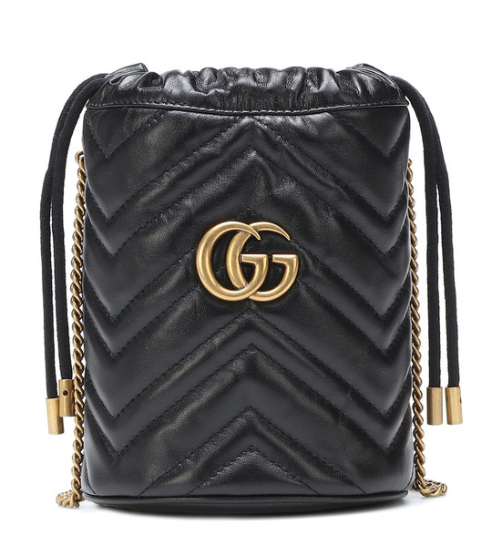 Gucci GG Marmont Mini leather bucket bag in black