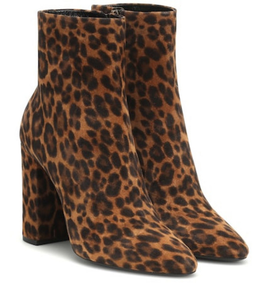 Saint Laurent Lou 100 suede ankle boots in brown