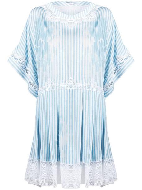 Ermanno Scervino lace-trim striped mini dress in white