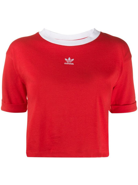adidas cropped T-shirt in red
