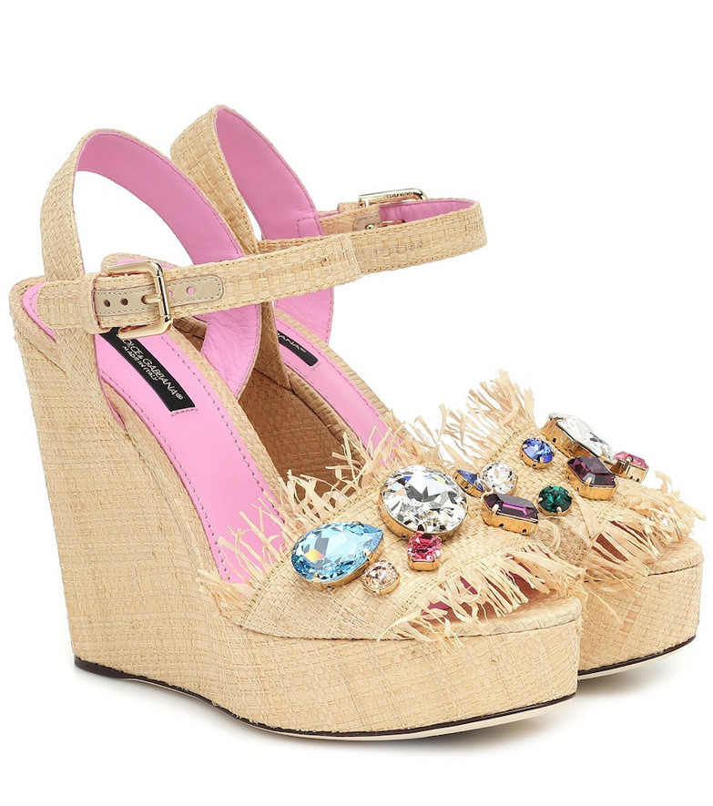 Dolce & Gabbana Crystal-embellished raffia wedges in yellow