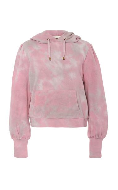 LoveShackFancy Linette Cotton Tie Dye Drawstring Hoodie Size: S in pink