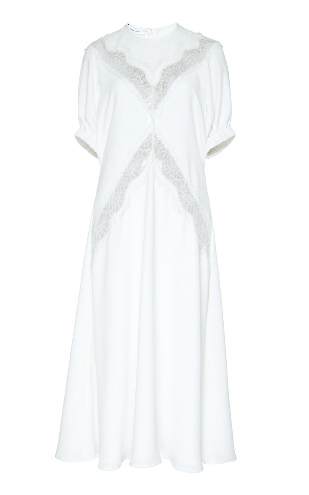 Beaufille Ocampo Puff-Sleeve Crepe Midi Dress Size: 0 in white