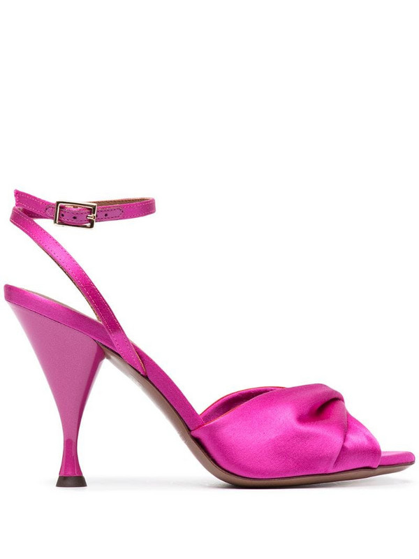 L'Autre Chose twisted front satin sandals in pink