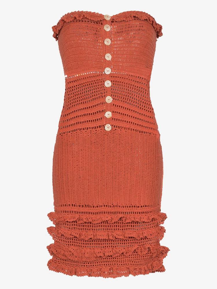 She Made Me Saachi strapless crochet dress in orange