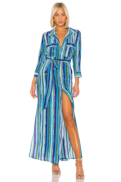 L'AGENCE Cameron Long Shirt Dress in blue