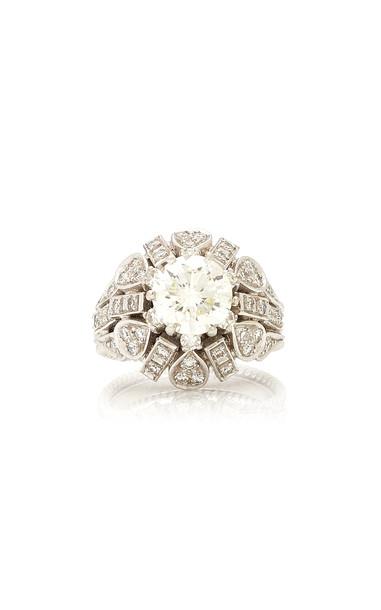Eleuteri Vintage 18K White Gold and Diamond Ring Size: 6.75