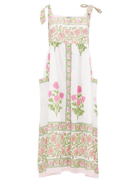 Juliet Dunn - Tie Shoulder Floral Print Cotton Midi Dress - Womens - Pink White