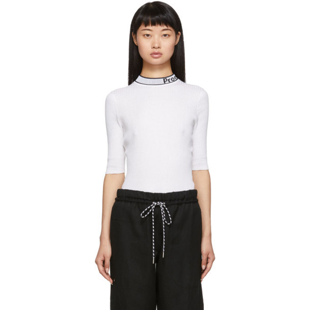 Proenza Schouler White and Black Knit Combo T-Shirt