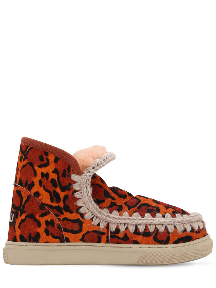 MOU 20mm Leopard Print Ponyskin Eskimo Boots in orange