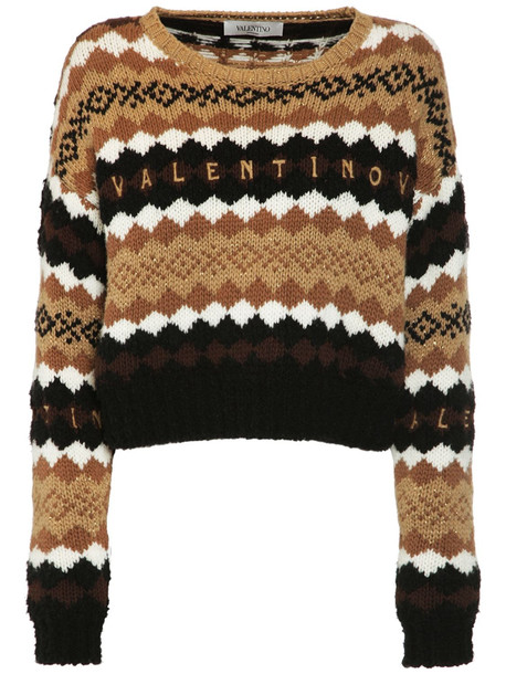 VALENTINO Logo Intarsia Wool Knit Sweater