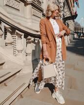 skirt,midi skirt,white skirt,topshop,white sneakers,blazer,double breasted,white bag,handbag,white t-shirt