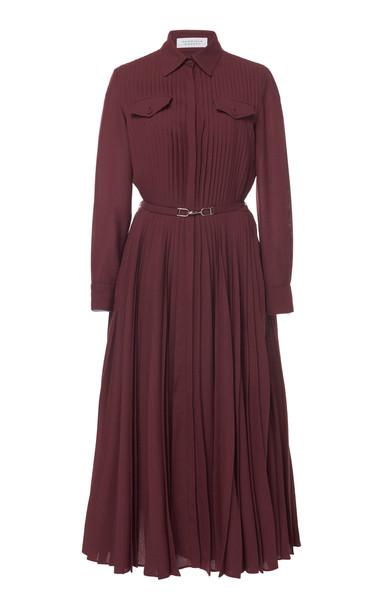 Gabriela Hearst Erella Pintucked Wool-Cashmere Shirt Dress Size: 46 in purple