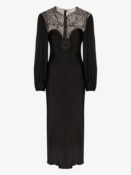 Christopher Kane lace yoke midi dress in black