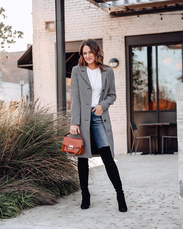 bag brown bag givenchy bag over the knee boots black boots heel boots skinny jeans plaid coat grey coat white t-shirt