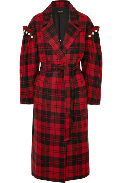 Mother of Pearl - Webb Belted Faux Pearl-embellished Checked Wool Coat - Red