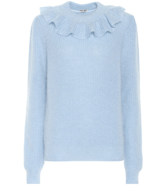 Miu Miu Ruffled mohair-blend sweater in blue