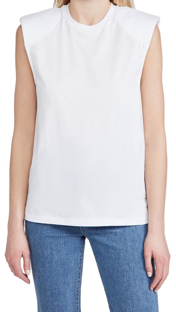 Tibi Program Padded Shoulder Top in white