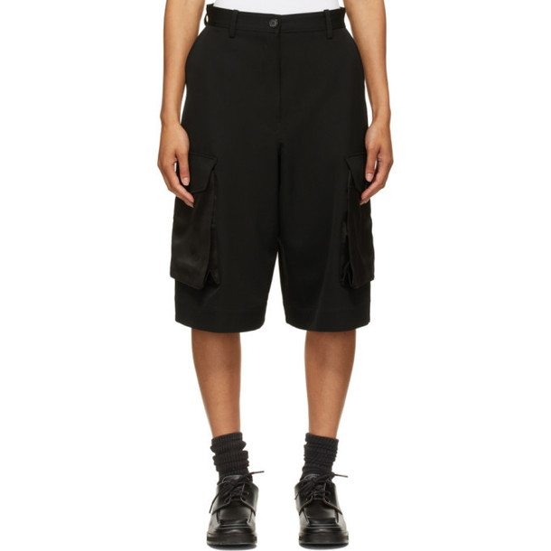 JW Anderson Black Wide-Leg Cargo Shorts
