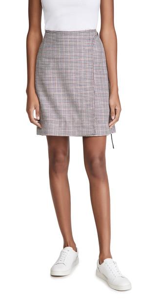 Adam Lippes Miniskirt W/ Buckle In Silk Linen Plaid in navy / plum