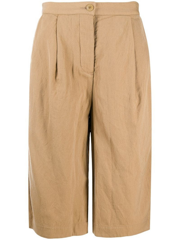 Casey Casey pleated cropped trousers in neutrals