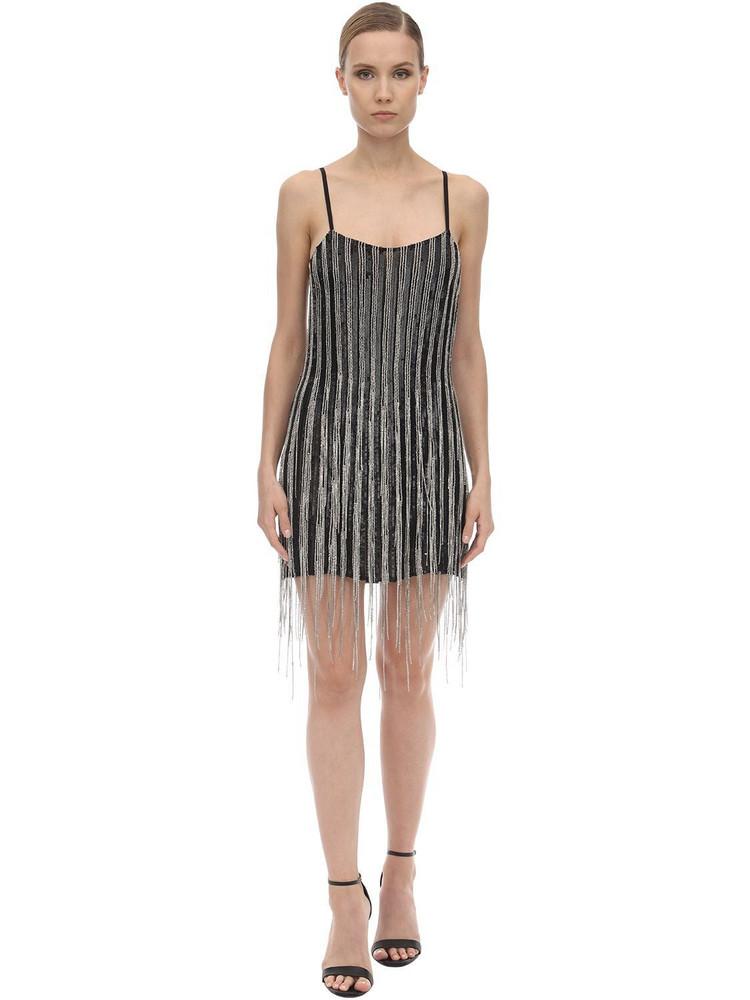 AMEN Embellished Mini Dress in black / silver