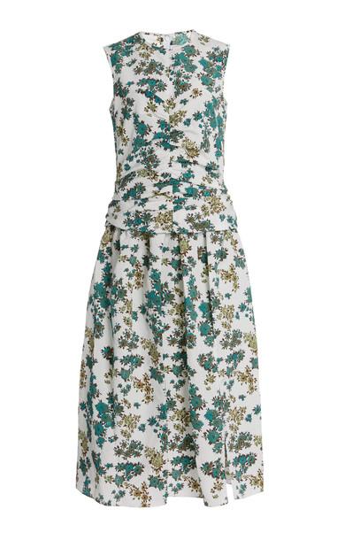 Victoria Victoria Beckham Ruched Floral-Print Cloque Midi Dress