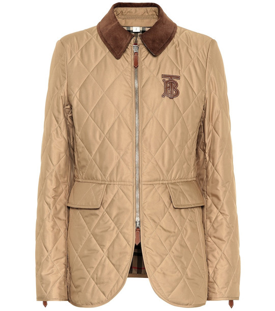 Burberry Leather-trimmed quilted jacket in beige