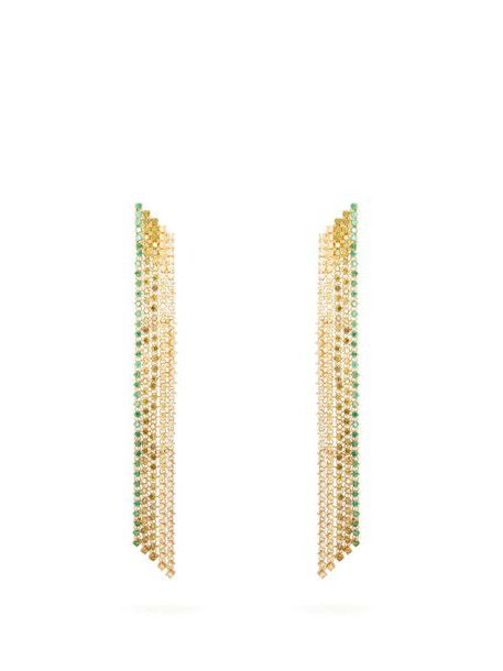 Lynn Ban - Waterfall Sapphire & Gold Plated Earrings - Womens - Green