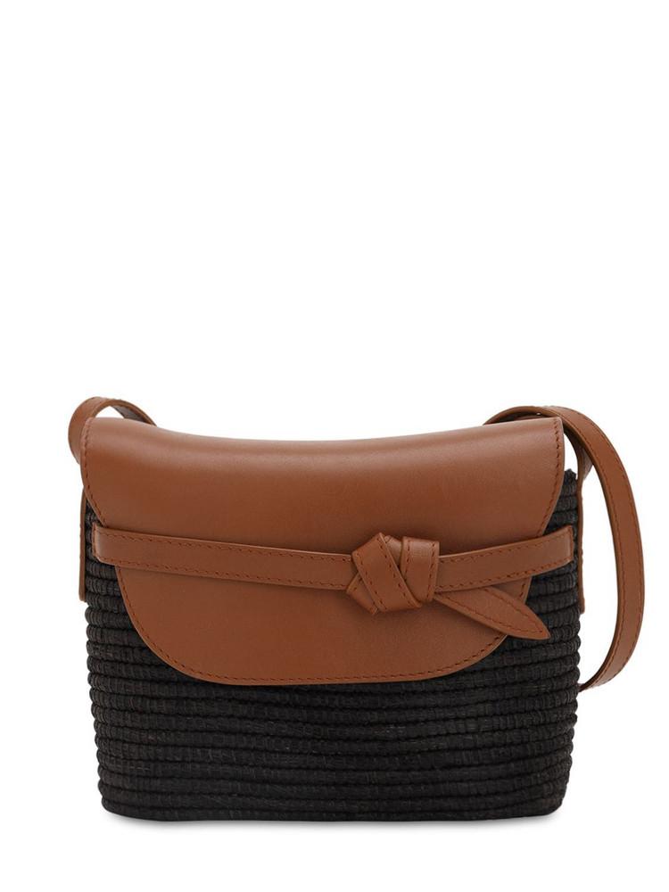CESTA COLLECTIVE Cotton Canvas & Leather Shoulder Bag in black / camel