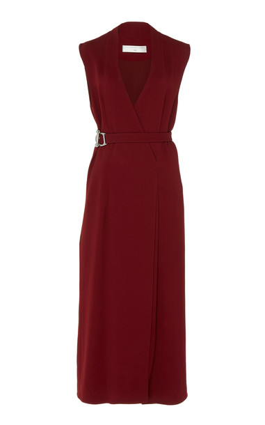 Victoria Beckham Belted Wrap Dress in red