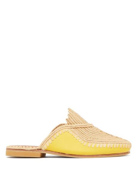 Kilometre Paris - Raffia And Leather Babouche Slippers - Womens - Yellow