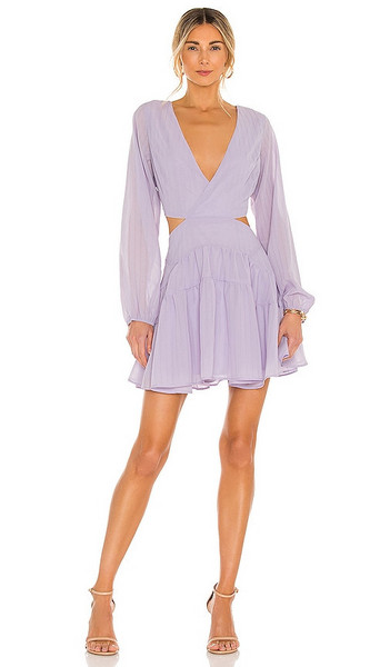Bardot Cut Out Frill Dress in Lavender in lilac