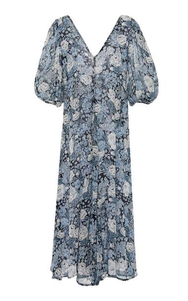 Ganni Printed Georgette Midi Dress Size: 40