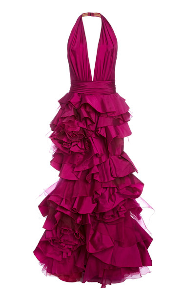 Marchesa Ruffled Satin Gown in pink