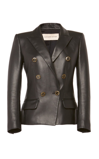 Alexandre Vauthier Leather Double-Breasted Blazer in black